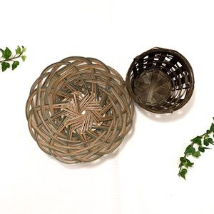 vintage bohemian handwoven basket wall